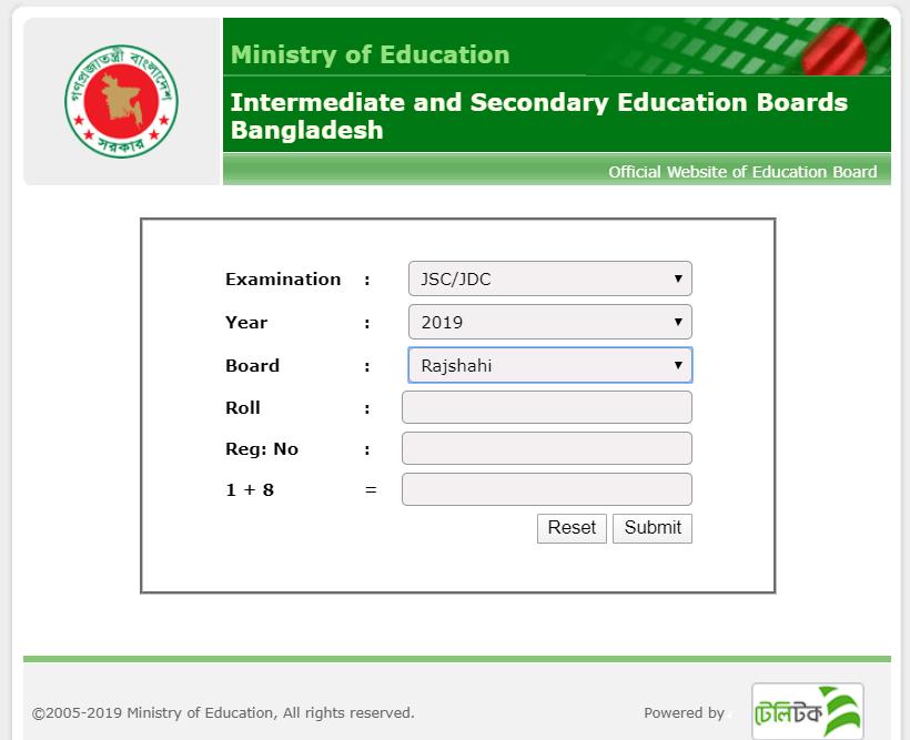 JSC Result Rajshahi Education Board