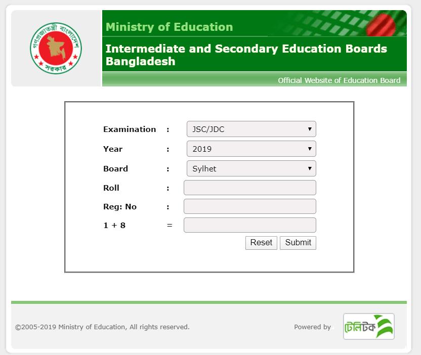JSC Result 2019 Sylhet Board